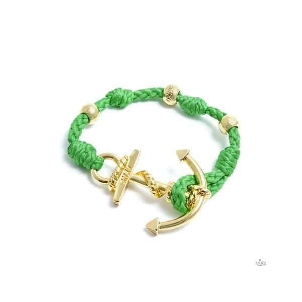 BRACCIALETTO LOVE BOAT - MIA's -Oro/verde fluo bracciale Ancora e nodi